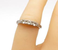 AVON 925 Sterling Silver - Vintage Topaz 3 Stone Petite Band Ring Sz 6 -... - $22.56