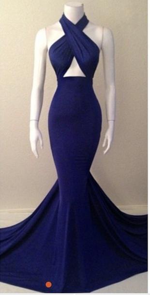 sexy halter prom dress royal blue skin tight mermaid evening dress,HH034