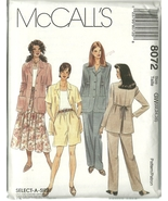 McCall's Sewing Pattern 8072 Misses Jacket Top Skirt Pants Shorts 22 24 ... - $9.99
