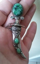 MAGNIFICENT VINTAGE STERLING SILVER DAGGER BROOCH PIN WITH JADE - $65.55