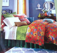 Sferra Mai Tai Queen Duvet Cover Sham Set 400 TC Floral Rouge Cotton Sateen New - $359.90