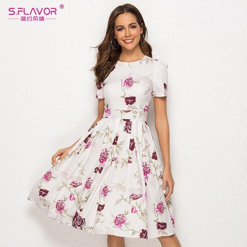 S.FLAVOR 2019 Women Summer Casual A-Line Dress Short