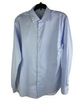 Nordstrom rack men's dress shirt 16 34-35 Blue White GRID Check - $28.46