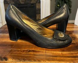Coach CYBEL Turnlock Pumps Black Leather Womens Size 9B - $29.69