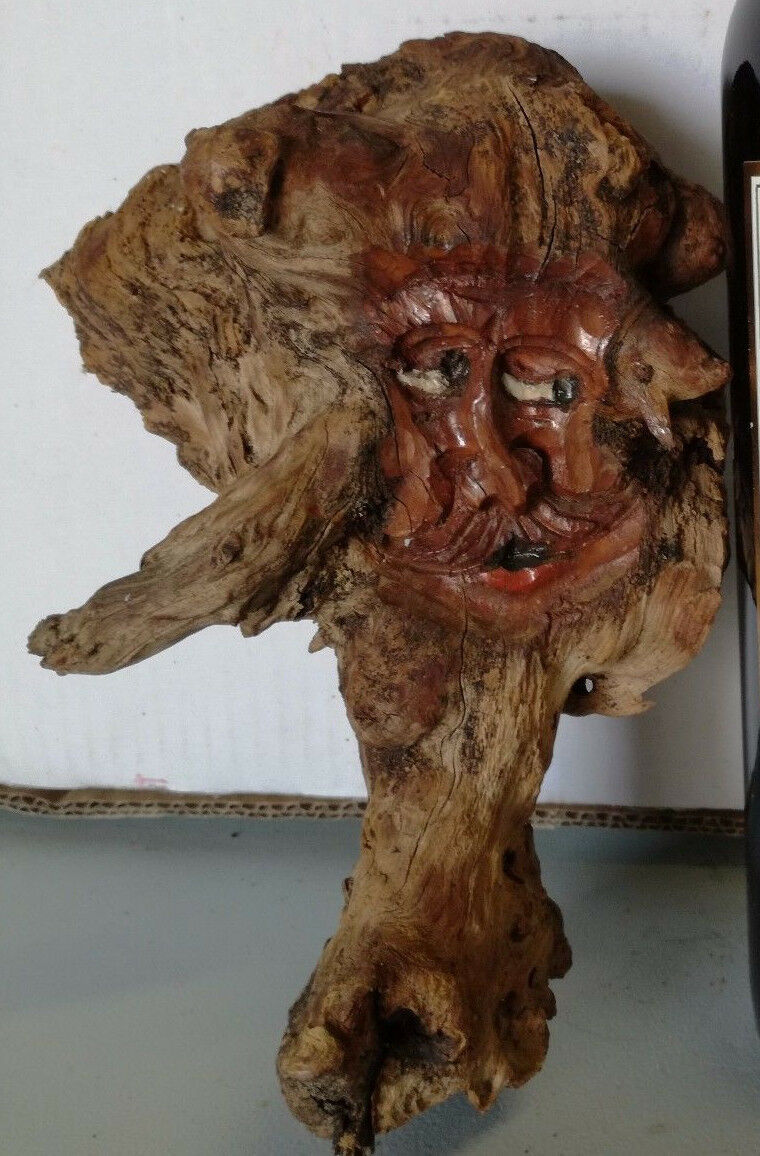 Black Forest HandCarved Wooden German folk Root face Hobbit Gnome décor