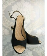 CHANEL Black Satin Open Toe Slingback w/ Gold Lucite Block Heels Sz 39/U... - $553.31