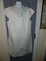 KC Parker White W/Embroidered Stitching Lined Dress Size 16 Girl's EUC - $18.72