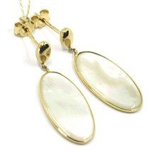 18K YELLOW GOLD PENDANT EARRINGS, FLAT OVAL MOTHER OF PEARL, MADE IN ITALY image 2