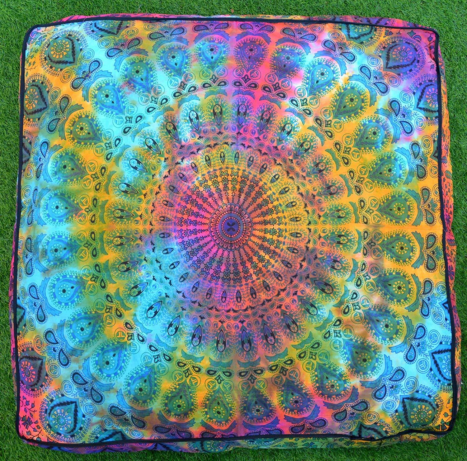 Primary image for Tie Dye Mandala 35 Inches Square Pouf Cover India Handmade Pet Dog Bed Bohemian