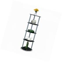 Furinno 99811BK/GY Turn-N-Tube 5 Tier Corner Shelf, Black/Grey - $24.34