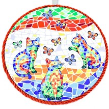 """Ole Mosaic Colorful Printed Cats Kittens with Butterflies 6.75"""" Hanging Trivet image 2"""