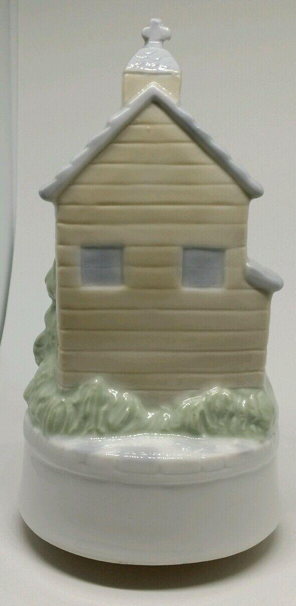 Vintage Otagiri Japan Porcelain Bride & Groom Church Turning Figurine Music Box image 3