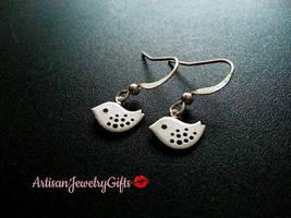Hypo-Allergenic Mini Skylark Bird Earrings Matte Silver Bird Earrings Ti... - $24.00