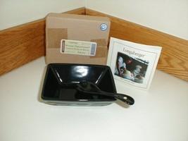 Longaberger Pottery Small Tasting Bowl Dish & Spoon Ebony Black Special ... - $24.70