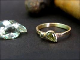 14K yellow gold ring set with 0.35ct drop shaped Green Rough Diamond.UNI... - $659.65