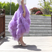 High-low Layered Tulle Skirt Outfit Plus Size Wedding Outfit Purple Tiered Skirt image 3