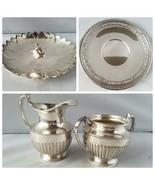 Reed & Barton Crescent MFG Vintage Silver Lot Tray Dish Creamer Sugar Te... - $63.93