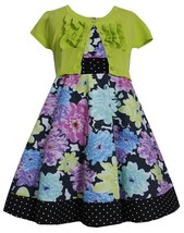 Bonnie Jean Little Girl 2T-6X Floral and Pin Dot Fit Flare Dress/Cardigan Set