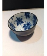 Kotobuki Japan Rice Bowl Pottery Blue Leaves - $10.89