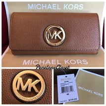 NWT MICHAEL KORS LEATHER FULTON FLAP CONTINENTAL WALLET IN LUGGAGE - $68.88