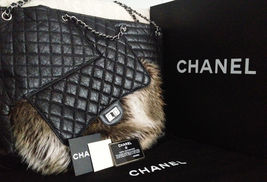 New Full Set CHANEL Black Quilted Aged Leather Fantasy Fur Karls Cabas T... - $60.645,43 MXN
