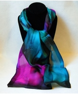 Hand Painted Silk Scarf Teal Green Turquoise Blue Hot Pink Oblong Neck H... - $44.00