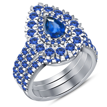 In White Gold Fn. 925 Silver Pear Shape Blue Sapphire Women's Wedding Ring Set - $141.99