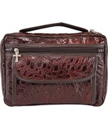 BIBLE COVER Leather Burgundy Faux Alligator Holy Book Case Cross Free Sh... - $18.80