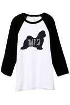 Thread Tank Maltese Dog Silhouette Unisex 3/4 Sleeves Baseball Raglan T-Shirt Te - $24.99+
