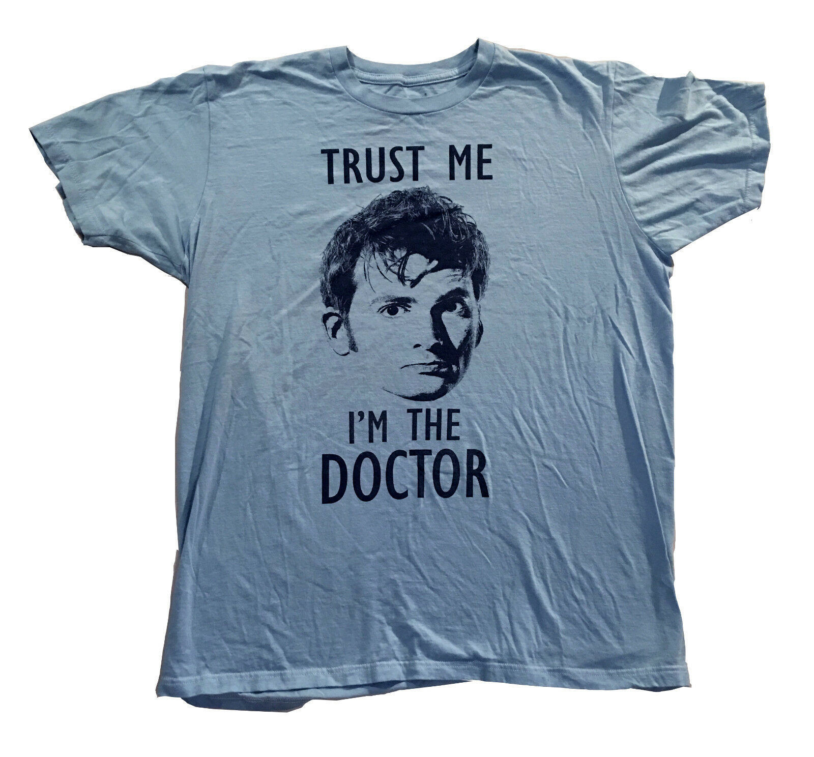 Dr. Who TRUST ME I'M A DOCTOR Mens T Shirt Light Blue 100% Cotton Sz. L