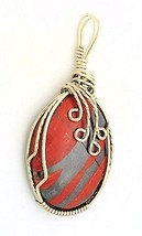 Red Banded Jasper Nickel  Silver Wire Wrap Pendant 37 - $27.90