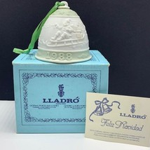 Lladro bell porcelain ornament figurine spain coa Christmas nao 1988 santa sled - $47.52