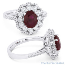 2.54 ct Oval Cut Ruby & Diamond Pave Right-Hand Cocktail Ring in 18k Whi... - £4,750.70 GBP