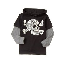 NWT Gymboree Spooky Skull Boys Black Halloween Hooded Long Sleeve Shirt 4 5 - $10.99