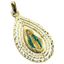 Pendentif Médaille, or Jaune 750 18K, Miraculeuse, Goutte Grand Tricoté image 1