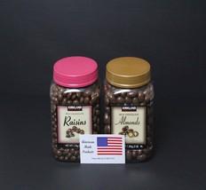 Kirkland Signature Milk Chocolate 1 jar of Roasted Almonds & 1 jar of Raisins - $42.56