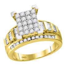 10kt Yellow Gold Round Diamond Cluster Bridal Wedding Engagement Ring 1-... - £1,122.94 GBP