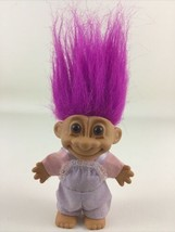 "Russ Berrie Troll Girl Doll Vintage 5"" Purple Hair Bibs Clothing Classic... - $17.77"