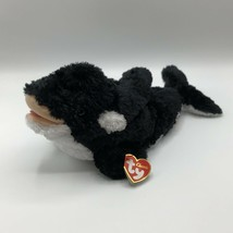 Ty Classic JONAH Orca Whale Black White Soft Fuzzy 13in Plush 2002 Killer Whale - $16.82