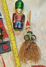 6 Vintage Christmas Ornaments Santa In Window, Tin Soldier, Straw Broom, Horns image 4
