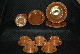 22 Pieces Vintage Fire King Peach Luster Dinnerware Set.  1940-50s. - $39.99
