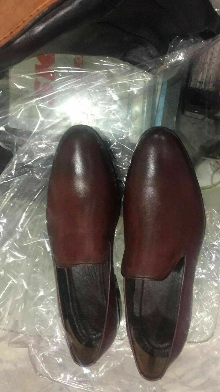 Burnished Maroon Tone Classical Genuine Leather Moccasin Loafer Men Casual Shoes