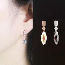 Oval Rectangle Geometric Dangle Earrings Made With Swarovski Crystal 925... - $527,43 MXN