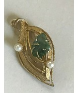 Vintage Goldtone Leaf w Prongset Green Stone Nugget & Two Faux Pearl Bea... - $13.09