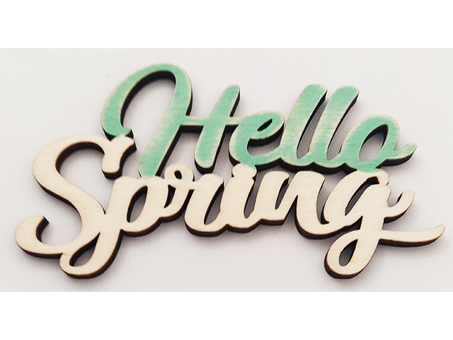 """Unfinished Wooden """"Hello Spring"""" Sign"""