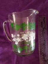 Vintage Glass Pitcher Clear Ivy Green White Vines Holiday Festive Pourin... - $29.65