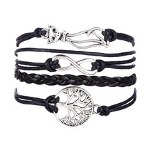 Women Cat Tree Multilayer Knit Leather Rope Chain Charm Bracelet Gift - $12.99+