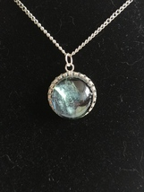 Handpainted Blue Grey Pendant - $15.00
