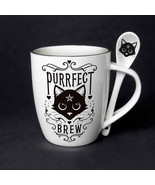 Sacred Cat Purrfect Brew Ceramic Mug and Spoon Set by Alchemy England - $16.82