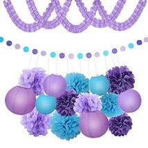 XFunino Paper Lanterns Decorations Purple Pom Poms Happy Birthday Tissue... - $13.96